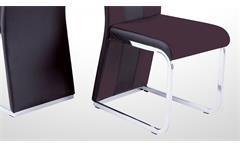Stuhl Bari 3 im 4er Set Esszimmerstuhl Lederlook und Softtex dunkelbraun