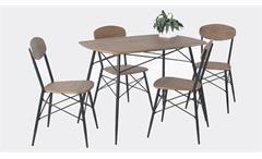 Essgruppe LARA Tischgruppe in Eiche und Metall schwarz lackiert