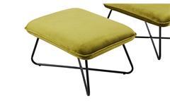 Lounge Sessel Set Samt in grün Stuhl und Hocker Metall Gestell schwarz modern