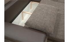 Ecksofa Celina Sofa Couch in dunkelbraun braun inkl. Funktionen + Kissen 274x180