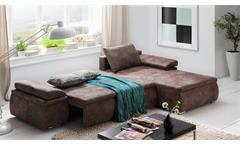 Ecksofa Celina Sofa Couch in Antik braun inkl. Funktionen und Kissen 274x180