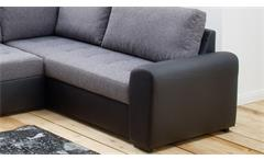 Wohnlandschaft Nollie Polstergarnitur grau schwarz mit Schlaffunktion Bettkasten