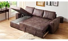 Ecksofa Trinidad Tobago dark brown Schlaffunktion Recamiere Bettkasten