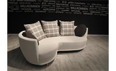 Sofa Sonia Wohnzimmer Couch mit Hocker in beige Kissen braun 220cm breit