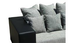 Sofa Giga Bigsofa Megasofa Couch 3-Sitzer Schwarz und Grau inkl. Kissen 305 cm