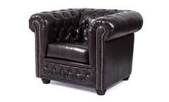 Sessel Sheffield Chesterfield Einzelsessel Polstermöbel Lederlook antik braun