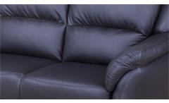 Sofa 3 Sitzer Pisa Einzelsofa Couch Polstermöbel in schwarz Lederlook 201 cm