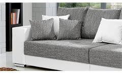 Bigsofa Adria Big Sofa Couch in weiß Bezug Webstoff hellgrau mit vielen Kissen