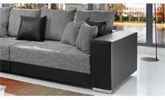 Bigsofa Adria Big Sofa Couch in schwarz Bezug Webstoff hellgrau mit vielen Kissen