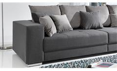 Bigsofa Adria Big Sofa Wohnzimmer Couch in Stoff grau mit vielen Kissen