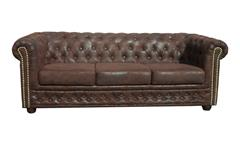 Chesterfield Sofa Sheffield 3-Sitzer Couch Microfaser braun