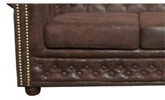 Sofa Sheffield 3-Sitzer Chesterfield Polstermöbel 3er-Couch in Microfaser braun