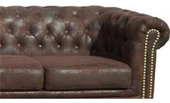 Sofa Sheffield 3-Sitzer Chesterfield Polstermöbel 3er-Couch in Microfaser braun