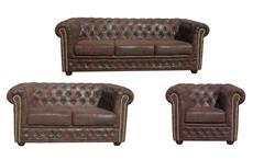 Garnitur 3-2-1 Sheffield Polstermöbel Sofa 2 und 3 Sitzer Sessel Microfaser braun