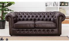 Sofa CHESTERFIELD 3-Sitzer dunkelbraun glänzend