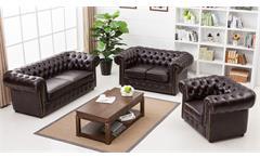 Sofa Chesterfield 3-Sitzer 3er-Sofa in dunkelbraun braun glänzend mit Steppung