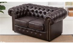Sofa CHESTERFIELD 2-Sitzer dunkelbraun glänzend