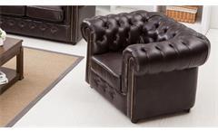 Sessel Chesterfield Einzelsessel in dunkelbraun braun glänzend mit Steppung