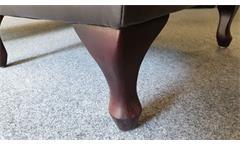 Ohrensessel Chesterfield Sessel in dunkelbraun glänzend mit Steppung
