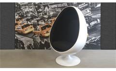 Lounge Sessel Retro Design Sitzei SPACE EGG weiß Stoff schwarz