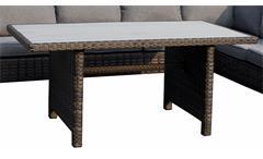 Sitzecke Madison Garten Sitzgruppe Set Eckbank mit Tisch Polyrattan grau braun