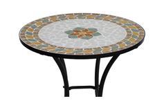 Gartentisch mit Blumen Mosaik und schwarzem Gestell 60 cm