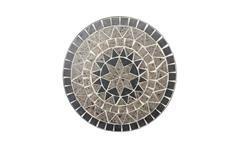 Gartentisch Metalltisch rund mit Keramik Mosaik schwarz grau