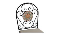 Eisenstuhl Gartenstuhl mit Blumen Mosaik und Sitzpolster