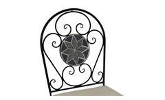 Eisenstuhl Gartenstuhl mit Mosaik schwarz grau und Sitzpolster