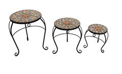 3-Satz Tisch Set Blumenhocker Metall mit Blumen Mosaik rund