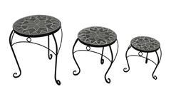 3-Satz Tisch rund Metalltisch Set mit Mosaik in schwarz grau