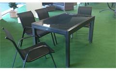 Tisch Outdoor geeignet Glas grau Gestell anthrazit ausziehbar 140-280