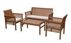Lounge-Gruppe Sitzgruppe für Garten in Akazie 4-teiliges Set