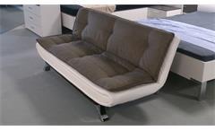 Schlafsofa CLIRK Couch in Stoff dunkelgrau Kunstleder weiß