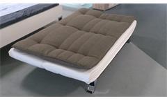Schlafsofa CLIRK Couch in Stoff dunkelgrau Kunstlerder weiß