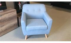 Sessel Linon Retro 1-Sitzer in Leinenstoff hellblau und Buche