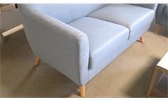 Sofa 2-Sitzer aus Leinen Stoff in hellgrau mit Buche Gestell 140 cm