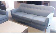 Sofa 3-Sitzer Linon Retro Couch in Leinen hellblau und Buche