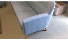 Sofa 3-Sitzer aus Leinen Stoff in hellgrau mit Buche Gestell 198 cm
