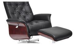 TV- Relaxsessel mit Hocker in Lederlook schwarz und Nussbaum