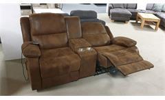 Kinosessel Rax 2-Sitzer mit Heizung und Massage Stoff Antik braun mit Getränkehalter