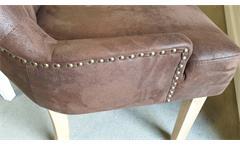 Stuhl Dining Microfaser Vintage braun Esszimmerstuhl Beine Eiche gebeizt
