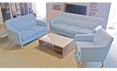 Sofa Garnitur Linon Retro Couch  Set in Leinenstoff hellblau