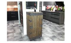 Weinschrank Antik Regal rollbar aus Tannenholz und Kunstleder