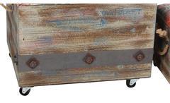 Sitzkisten Vintage 2er Set aus Tannenholz mit Stauraum rolbar