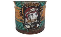 Hocker Vintage Sitztonne Hund rund Metall mit Kunstleder
