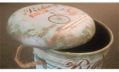 Hocker Vintage Sitztonne Fahrrad rund Metall mit Kunstleder