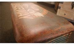 Hocker im 3er Set Vintage Sitztonne aus Metall gepolstert rund