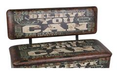 Sitzbank Vintage mit Kunstleder Believe you can mit Stauraum