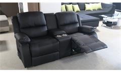 Kinosofa Rax 2-Sitzer Relaxsessel schwarz mit Heizung Massage Getränkehalter